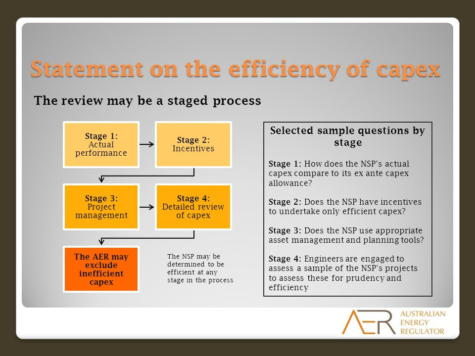 Statement on the efficiency of capex The review may be a staged process Stage 1: Actual performance Stage 2: Incentives Stage 3: Project management Stage 4: Detailed review of capex The AER may exclude inefficient capex Selected sample questions by stage Stage 1: How does the NSP's actual capex compare to its ex ante capex allowance.