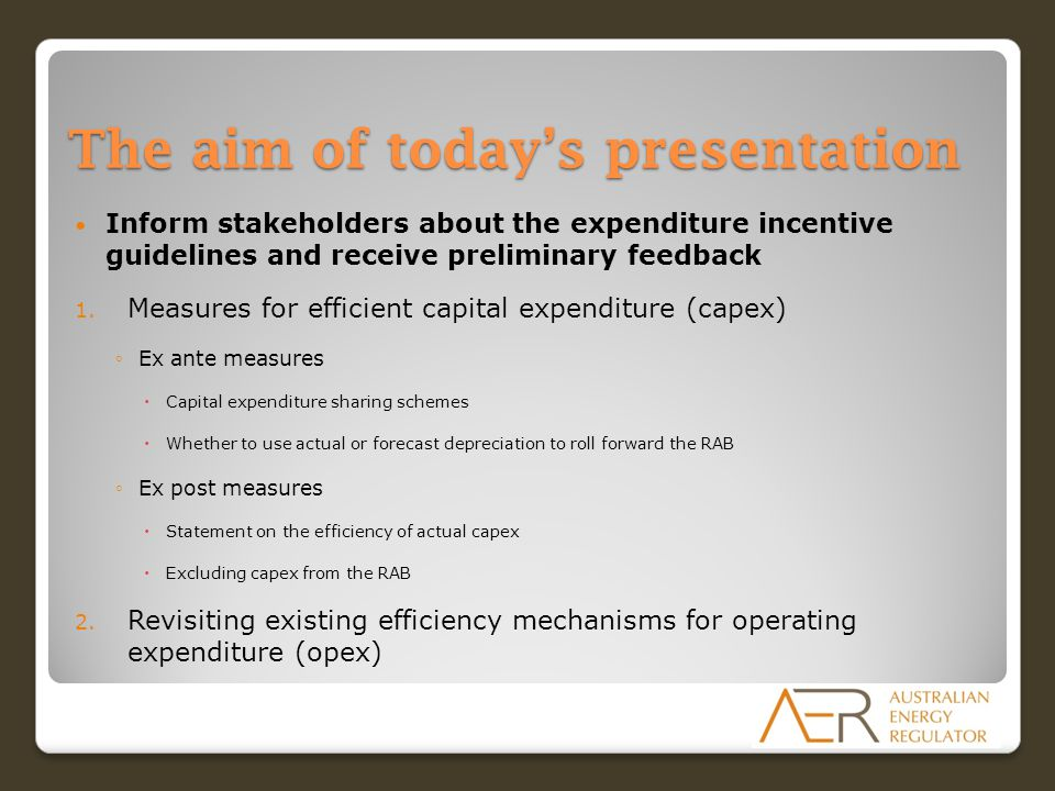 The aim of today's presentation Inform stakeholders about the expenditure incentive guidelines and receive preliminary feedback 1.