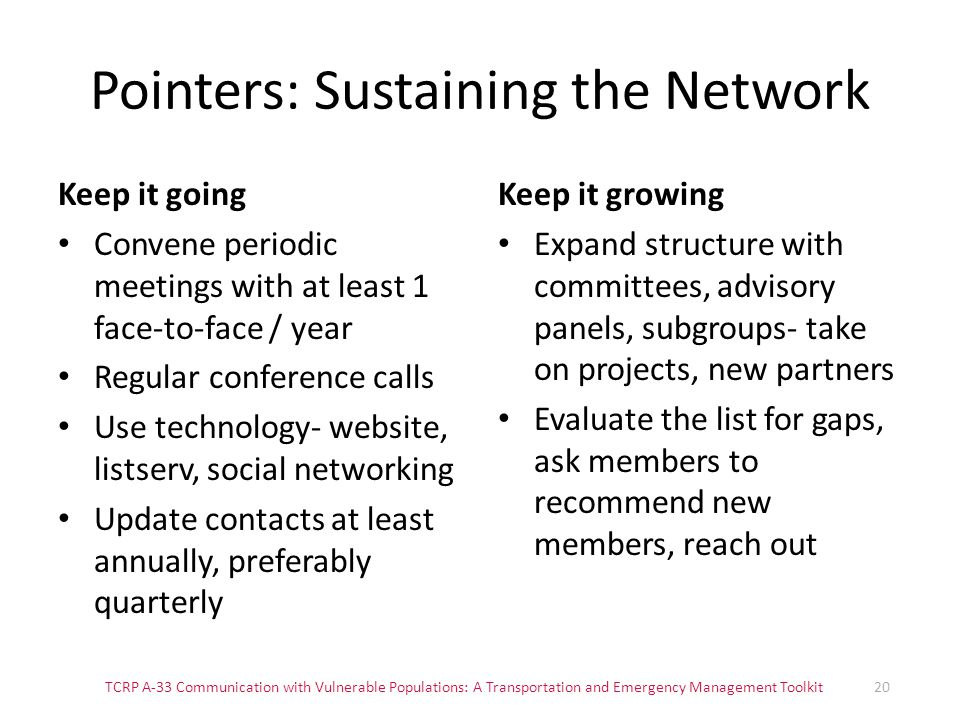 Pointers: Sustaining the Network Keep it going Convene periodic meetings with at least 1 face-to-face / year Regular conference calls Use technology-