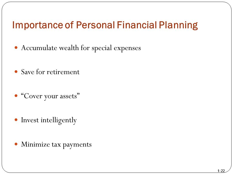 """1-22 Importance of Personal Financial Planning Accumulate wealth for special expenses Save for retirement """"Cover your assets"""" Invest intelligently Min"""