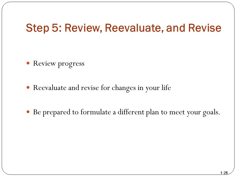 1-28 Step 5: Review, Reevaluate, and Revise Review progress Reevaluate and revise for changes in your life Be prepared to formulate a different plan t