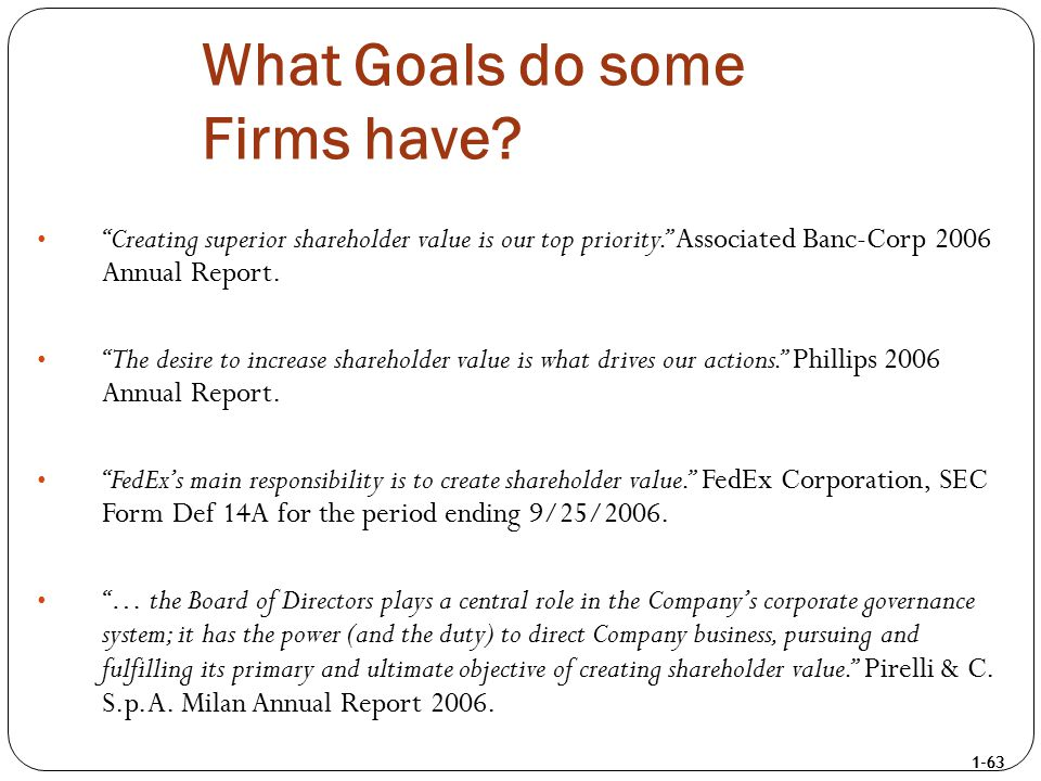 """1-63 What Goals do some Firms have? """"Creating superior shareholder value is our top priority."""" Associated Banc-Corp 2006 Annual Report. """"The desire to"""