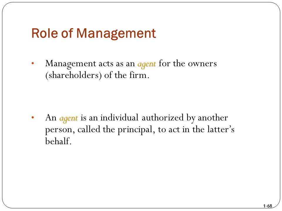1-68 Role of Management agent Management acts as an agent for the owners (shareholders) of the firm. agent An agent is an individual authorized by ano