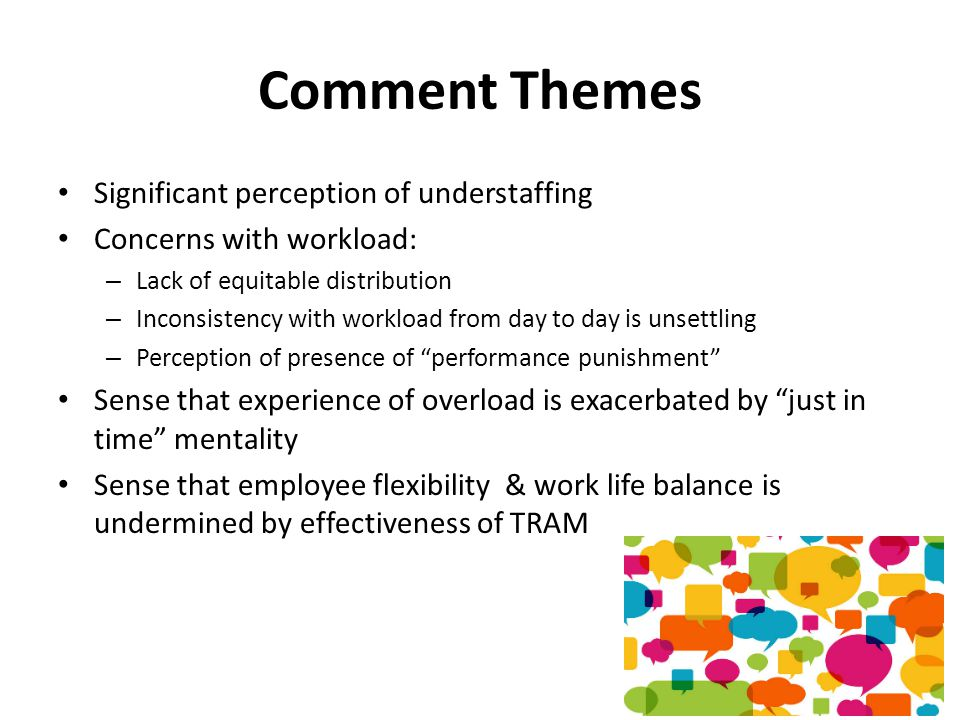 Comment Themes Significant perception of understaffing Concerns with workload: – Lack of equitable distribution – Inconsistency with workload from day to day is unsettling – Perception of presence of performance punishment Sense that experience of overload is exacerbated by just in time mentality Sense that employee flexibility & work life balance is undermined by effectiveness of TRAM