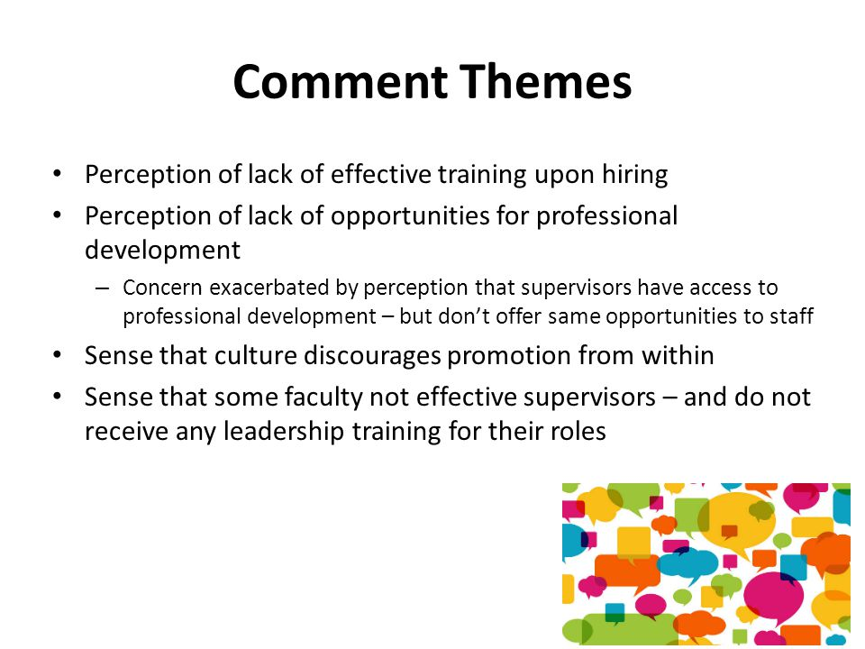 Comment Themes Perception of lack of effective training upon hiring Perception of lack of opportunities for professional development – Concern exacerbated by perception that supervisors have access to professional development – but don't offer same opportunities to staff Sense that culture discourages promotion from within Sense that some faculty not effective supervisors – and do not receive any leadership training for their roles
