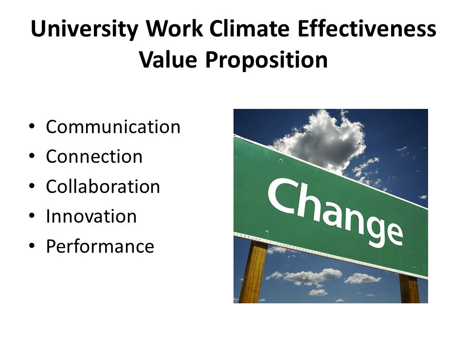 University Work Climate Effectiveness Value Proposition Communication Connection Collaboration Innovation Performance