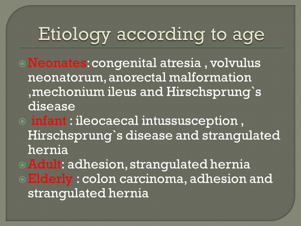 Neonates: congenital atresia, volvulus neonatorum, anorectal malformation,mechonium ileus and Hirschsprung`s disease  infant : ileocaecal intussusc