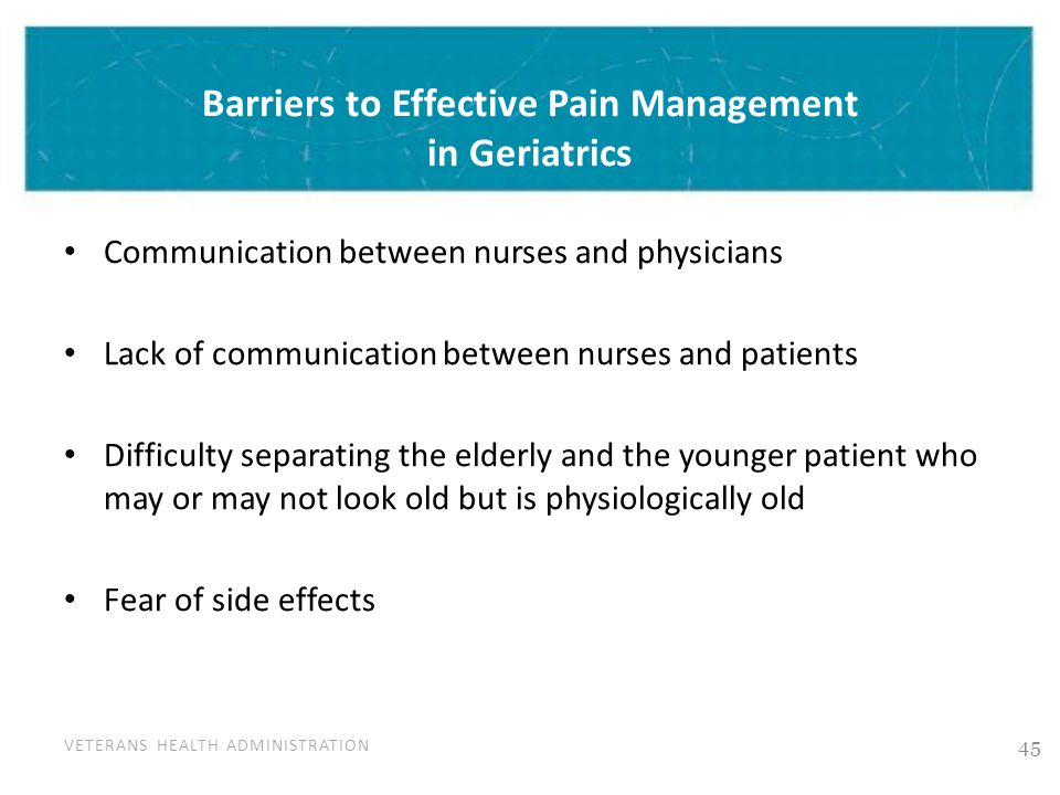 VETERANS HEALTH ADMINISTRATION Barriers to Effective Pain Management in Geriatrics Communication between nurses and physicians Lack of communication b