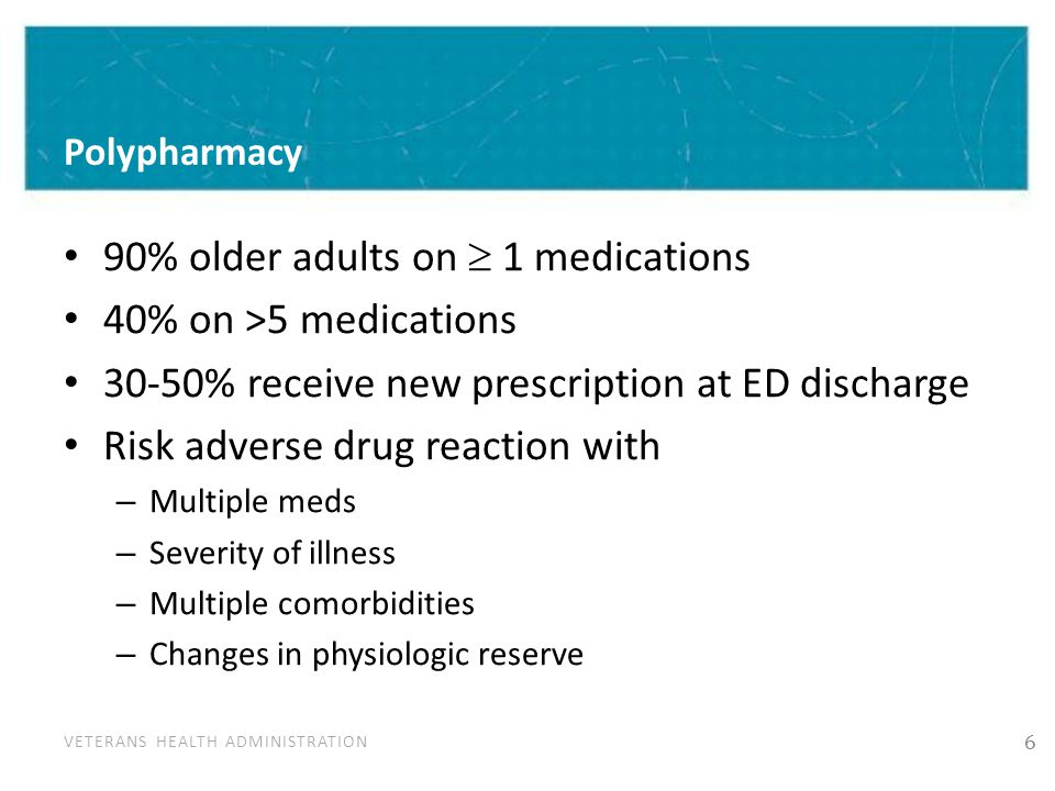 VETERANS HEALTH ADMINISTRATION Polypharmacy 90% older adults on  1 medications 40% on >5 medications 30-50% receive new prescription at ED discharge