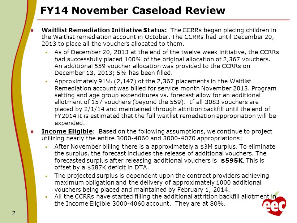 FY14 November Caseload Review Income Eligible - Continued  Income Eligible, Teen, and Homeless contract forecasted expenditures are held at the contract maximum obligation for the remaining months in FY2014.