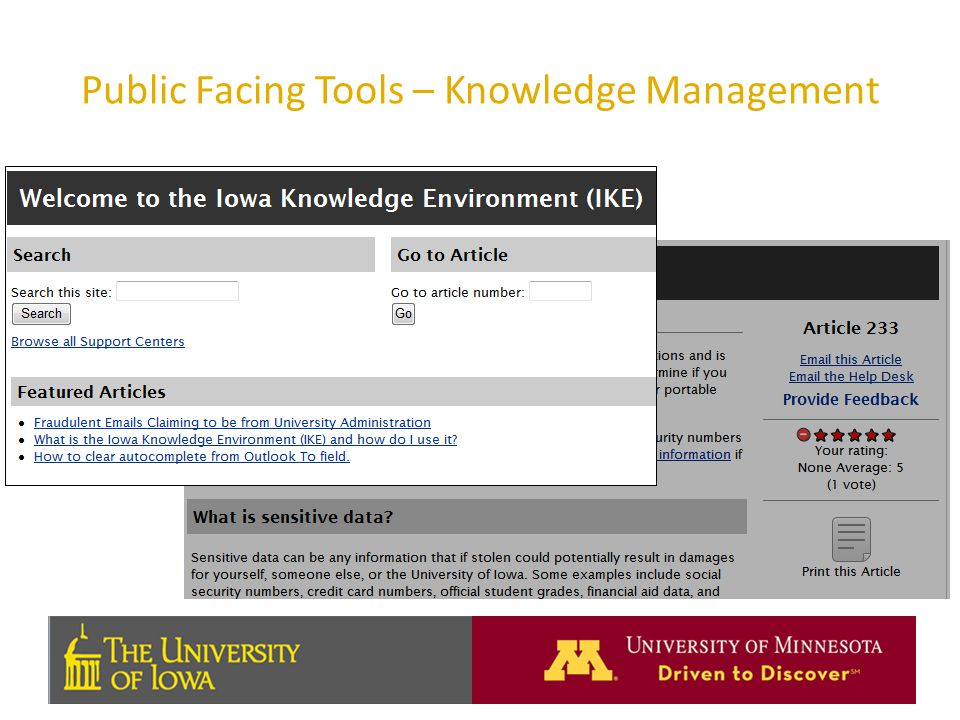 Public Facing Tools – Knowledge Management