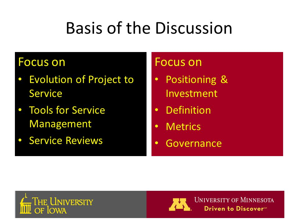Basis of the Discussion Focus on Evolution of Project to Service Tools for Service Management Service Reviews Focus on Positioning & Investment Definition Metrics Governance