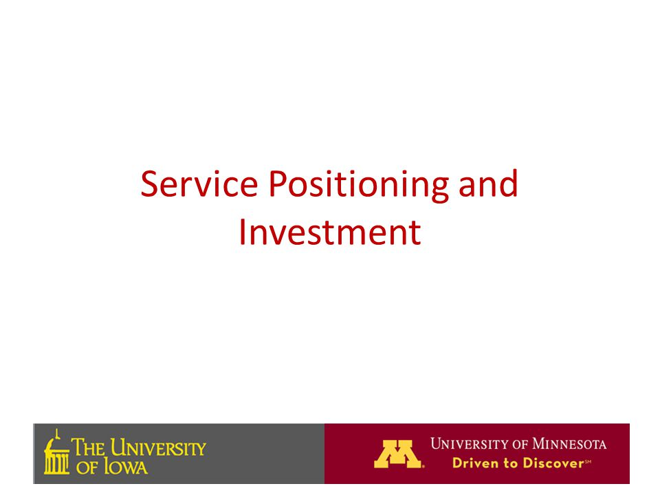 Service Positioning and Investment