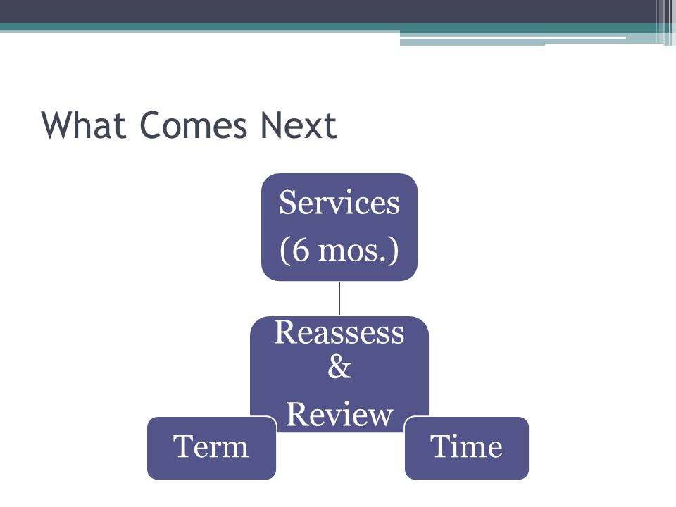 What Comes Next Reassess & Review Services (6 mos.) TimeTerm