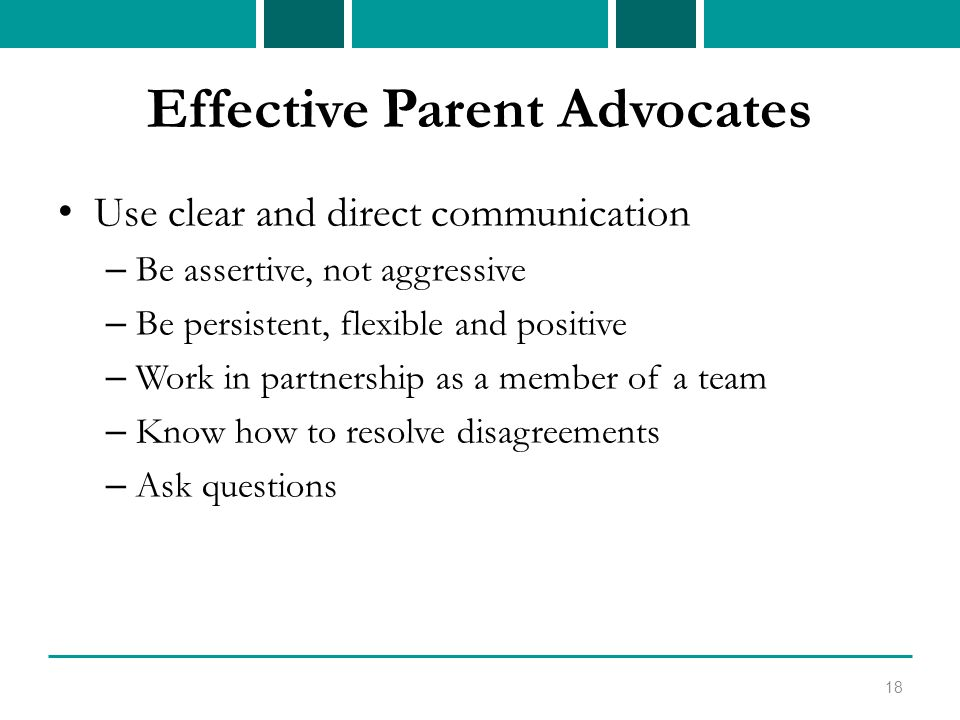 Effective Parent Advocates Use clear and direct communication – Be assertive, not aggressive – Be persistent, flexible and positive – Work in partnership as a member of a team – Know how to resolve disagreements – Ask questions 18