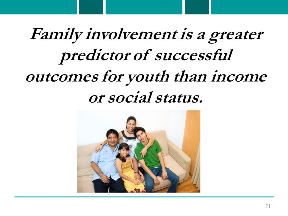 Family involvement is a greater predictor of successful outcomes for youth than income or social status.