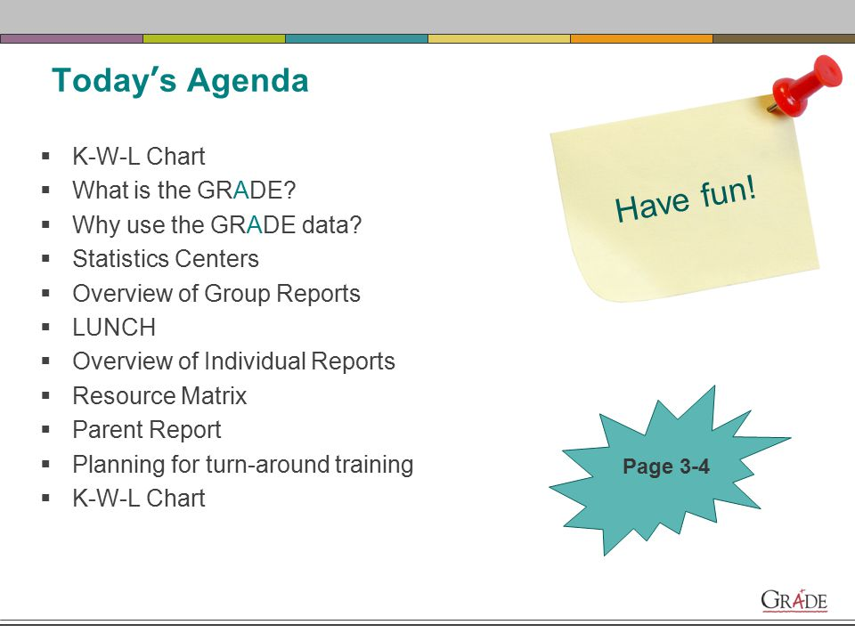 Today's Agenda  K-W-L Chart  What is the GRADE. Why use the GRADE data.