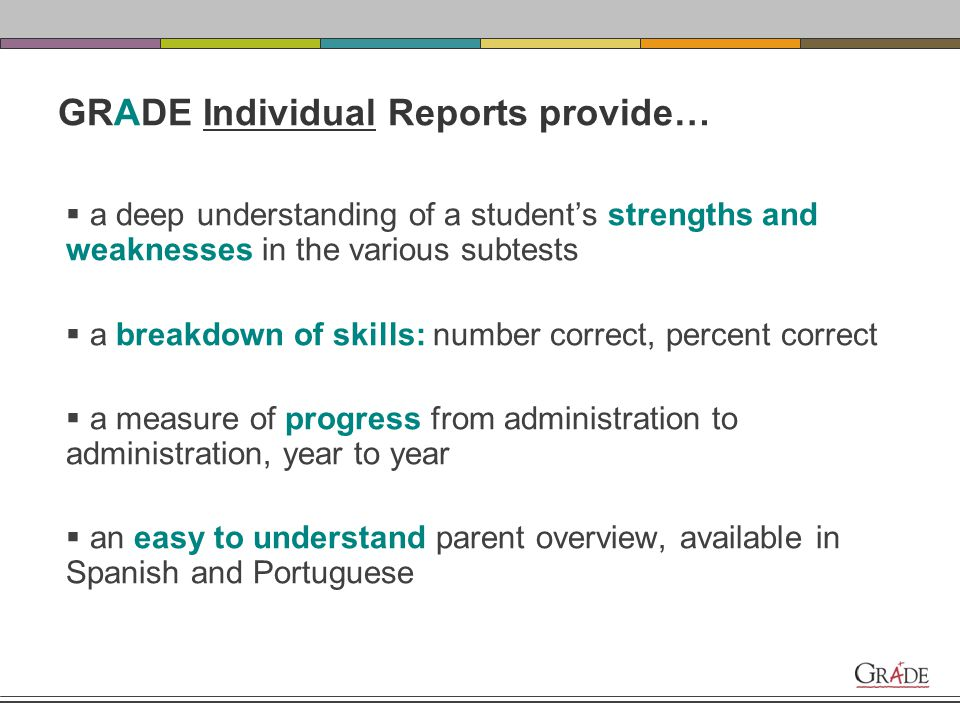 Individual Progress Report Individual Parent Report Individual Score Summary Report