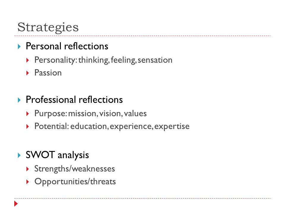 Strategies  Personal reflections  Personality: thinking, feeling, sensation  Passion  Professional reflections  Purpose: mission, vision, values  Potential: education, experience, expertise  SWOT analysis  Strengths/weaknesses  Opportunities/threats