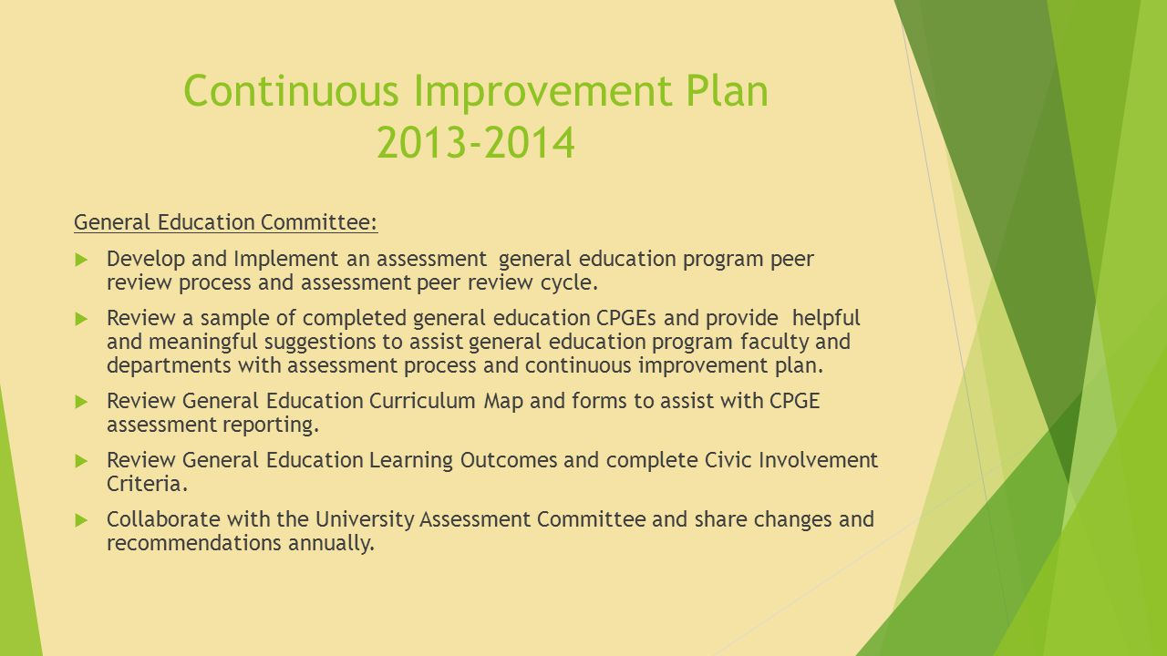 Continuous Improvement Plan 2013-2014 General Education Committee:  Develop and Implement an assessment general education program peer review process and assessment peer review cycle.