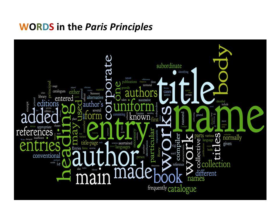 WORDS in the Paris Principles