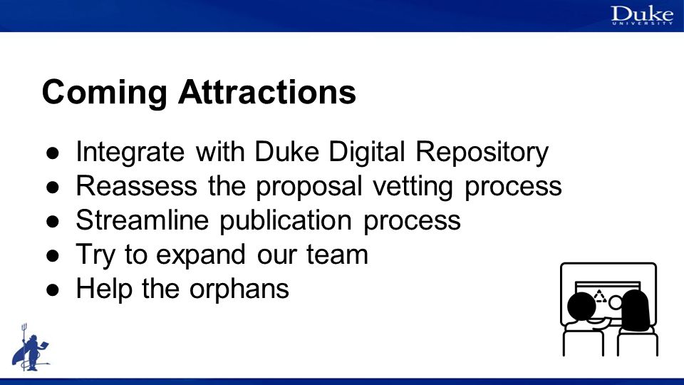 Coming Attractions ●Integrate with Duke Digital Repository ●Reassess the proposal vetting process ●Streamline publication process ●Try to expand our t