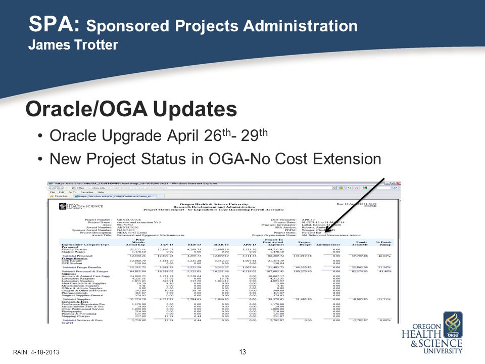 SPA: Sponsored Projects Administration James Trotter 13 RAIN: 4-18-2013 Oracle/OGA Updates Oracle Upgrade April 26 th - 29 th New Project Status in OGA-No Cost Extension