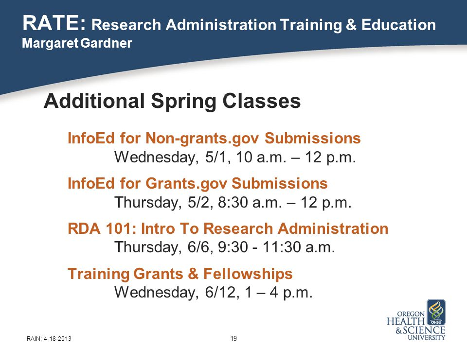 Additional Spring Classes InfoEd for Non-grants.gov Submissions Wednesday, 5/1, 10 a.m.