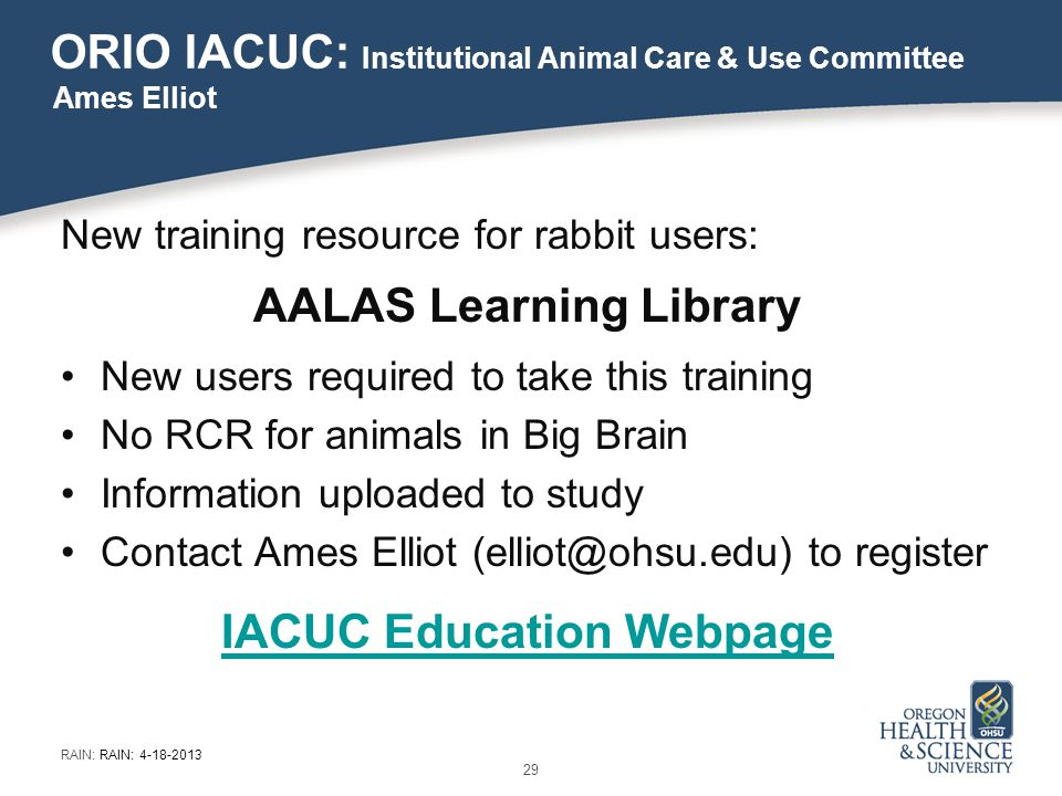 ORIO IACUC: Institutional Animal Care & Use Committee New training resource for rabbit users: AALAS Learning Library New users required to take this training No RCR for animals in Big Brain Information uploaded to study Contact Ames Elliot (elliot@ohsu.edu) to register IACUC Education Webpage Ames Elliot 29 RAIN: RAIN: 4-18-2013