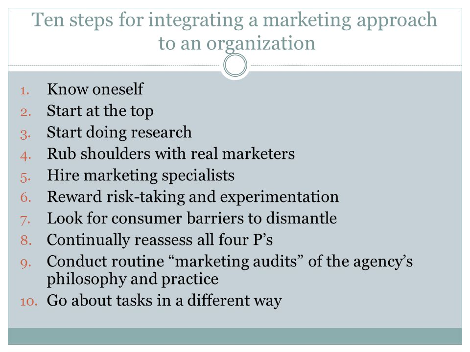 Ten steps for integrating a marketing approach to an organization 1.