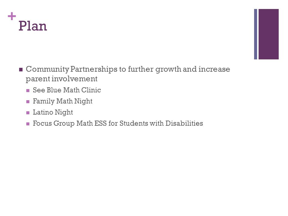 + Plan Community Partnerships to further growth and increase parent involvement See Blue Math Clinic Family Math Night Latino Night Focus Group Math E