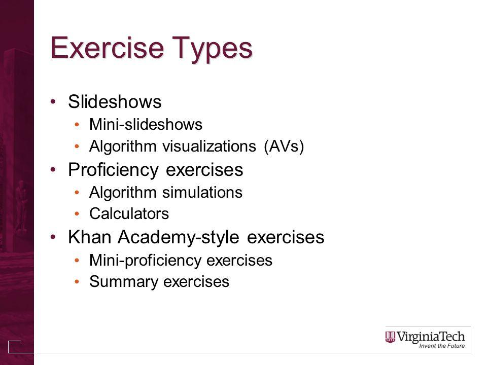 Exercise Types Slideshows Mini-slideshows Algorithm visualizations (AVs) Proficiency exercises Algorithm simulations Calculators Khan Academy-style exercises Mini-proficiency exercises Summary exercises