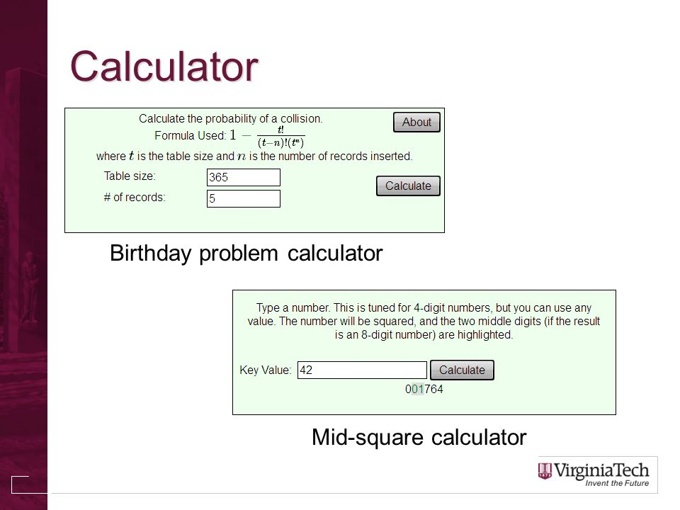 Calculator Birthday problem calculator Mid-square calculator