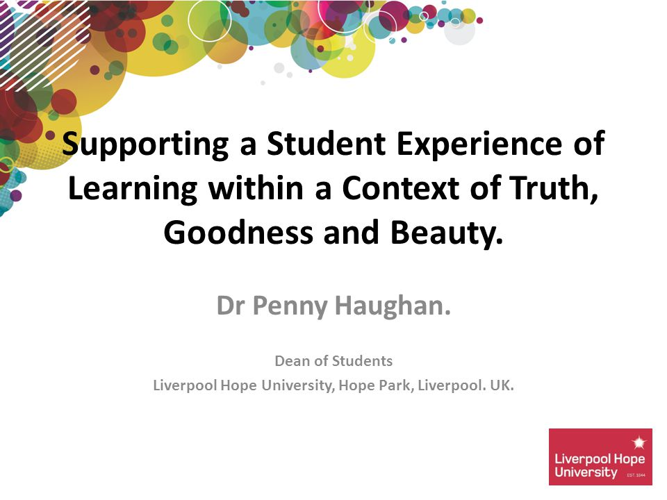 Dr Penny Haughan. Dean of Students Liverpool Hope University, Hope Park, Liverpool.