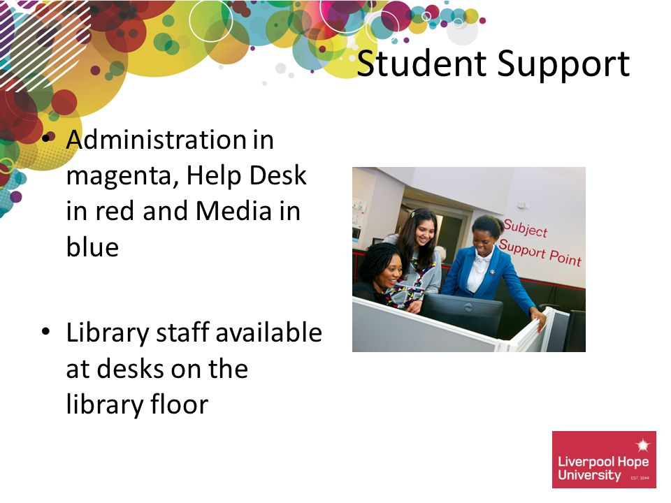 Administration in magenta, Help Desk in red and Media in blue Library staff available at desks on the library floor Student Support
