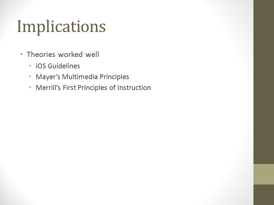 Implications Theories worked well iOS Guidelines Mayer's Multimedia Principles Merrill's First Principles of Instruction