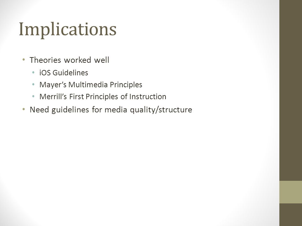 Implications Theories worked well iOS Guidelines Mayer's Multimedia Principles Merrill's First Principles of Instruction Need guidelines for media quality/structure