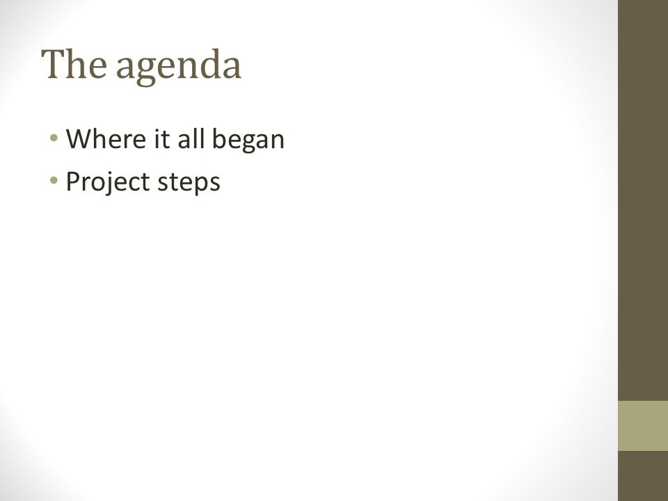 The agenda Where it all began Project steps