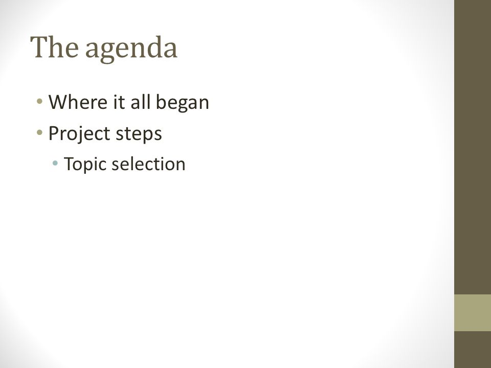 The agenda Where it all began Project steps Topic selection
