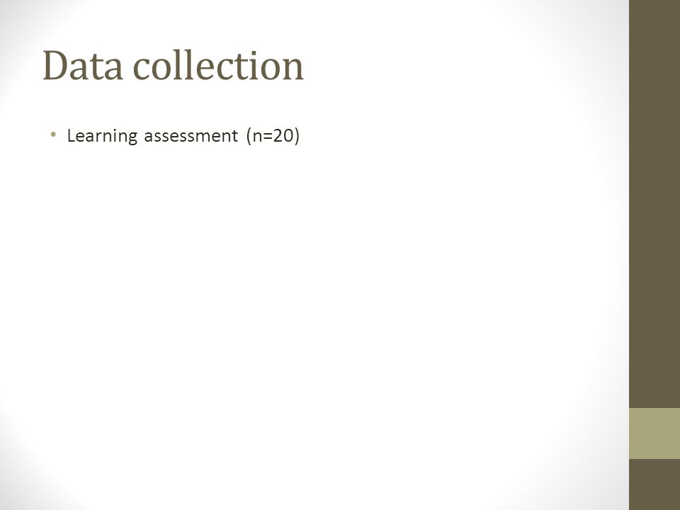 Data collection Learning assessment (n=20)