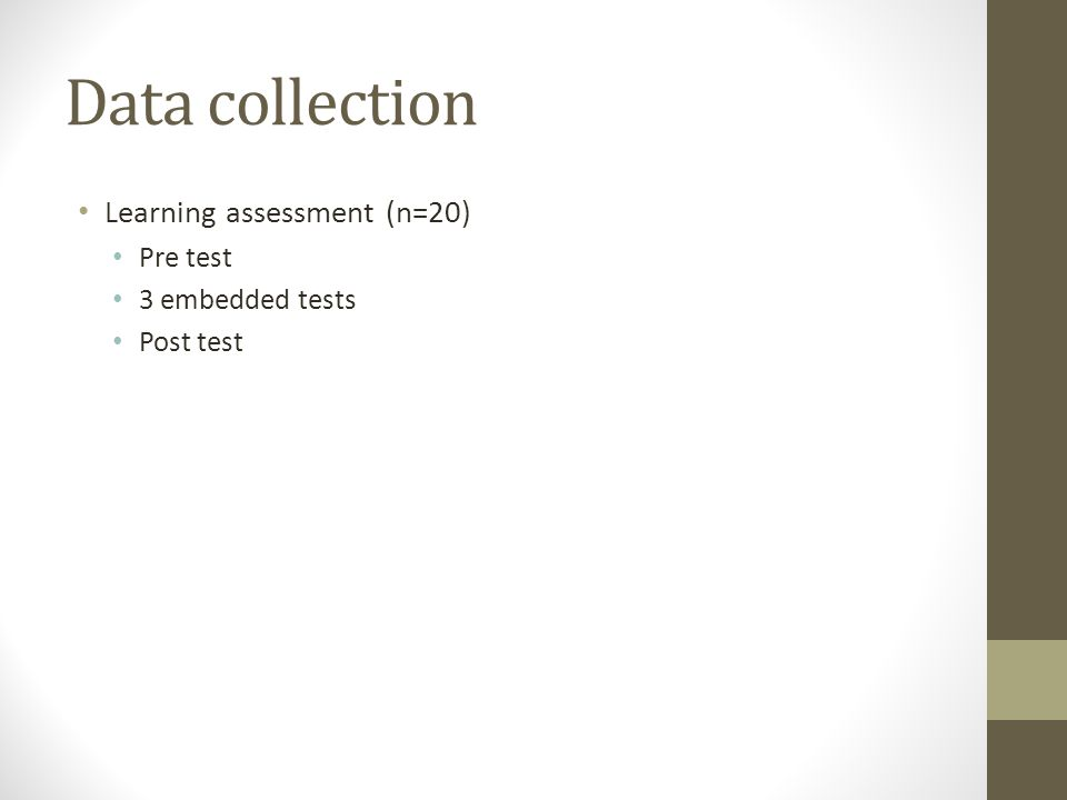 Data collection Learning assessment (n=20) Pre test 3 embedded tests Post test