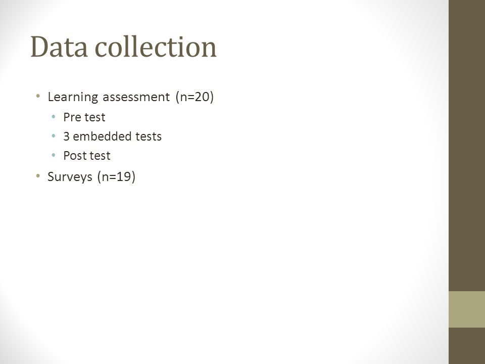 Data collection Learning assessment (n=20) Pre test 3 embedded tests Post test Surveys (n=19)