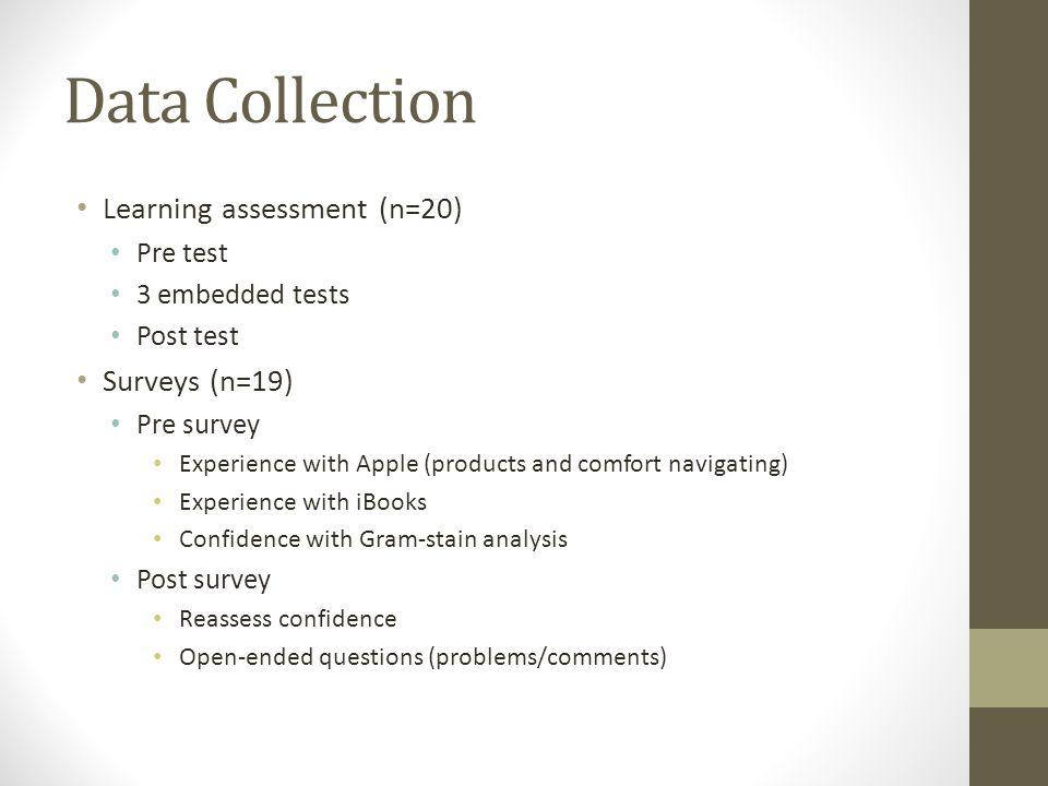 Data Collection Learning assessment (n=20) Pre test 3 embedded tests Post test Surveys (n=19) Pre survey Experience with Apple (products and comfort navigating) Experience with iBooks Confidence with Gram-stain analysis Post survey Reassess confidence Open-ended questions (problems/comments)