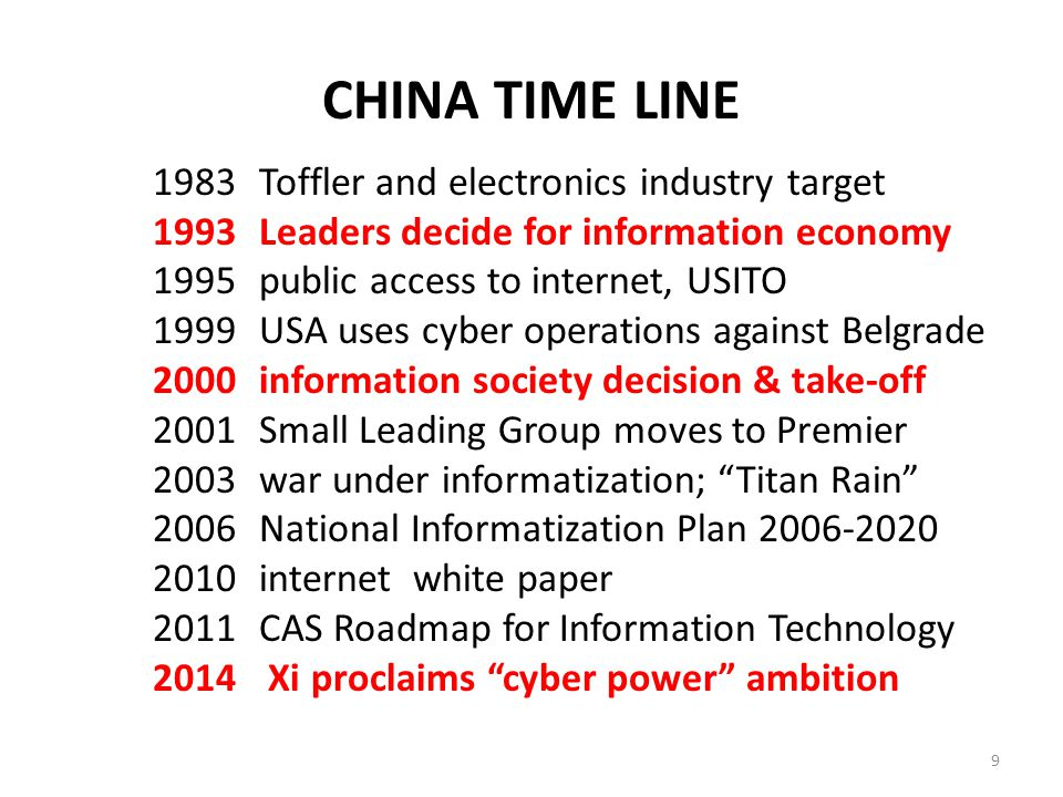 CHINA TIME LINE 1983Toffler and electronics industry target 1993Leaders decide for information economy 1995public access to internet, USITO 1999USA uses cyber operations against Belgrade 2000information society decision & take-off 2001Small Leading Group moves to Premier 2003war under informatization; Titan Rain 2006National Informatization Plan 2006-2020 2010internet white paper 2011CAS Roadmap for Information Technology 2014 Xi proclaims cyber power ambition 9