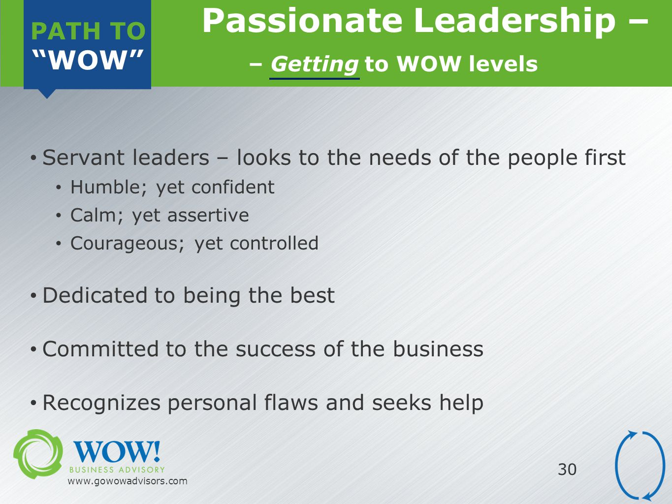 PATH TO WOW www.gowowadvisors.com 30 Servant leaders – looks to the needs of the people first Humble; yet confident Calm; yet assertive Courageous; yet controlled Dedicated to being the best Committed to the success of the business Recognizes personal flaws and seeks help Passionate Leadership – – Getting to WOW levels