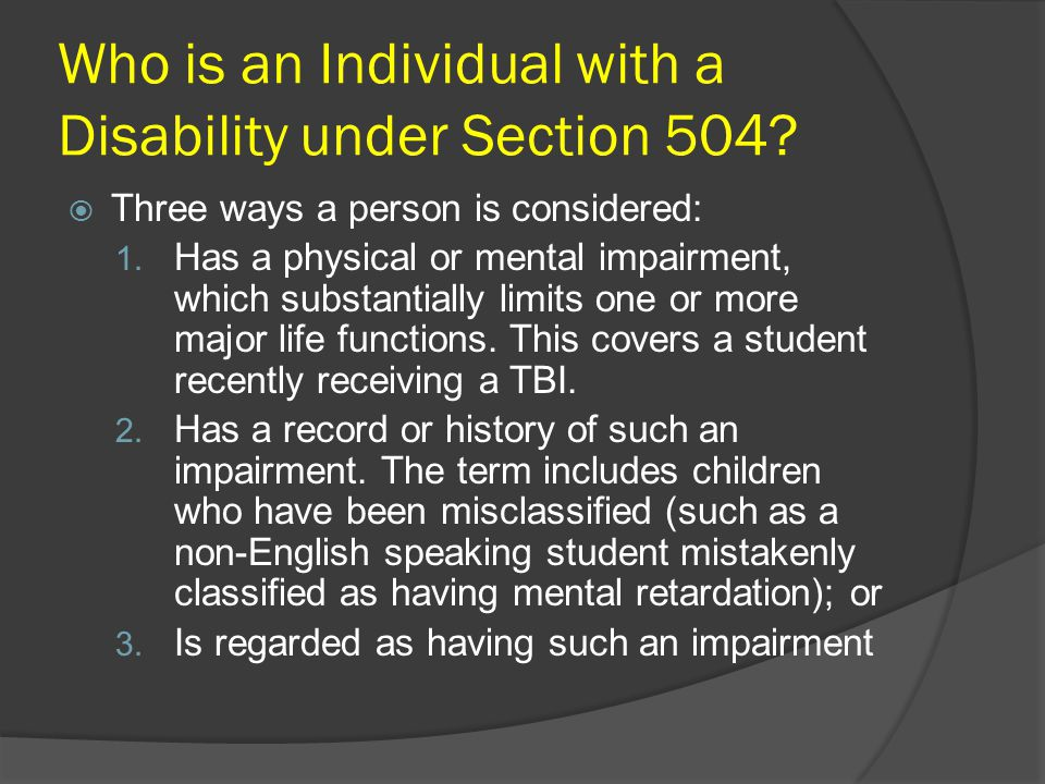 Who is an Individual with a Disability under Section 504.