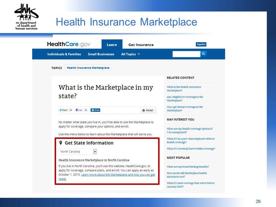 26 Health Insurance Marketplace