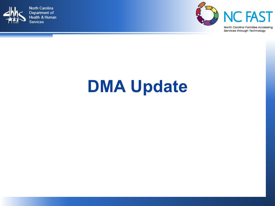 34 North Carolina Department of Health & Human Services 34 DMA Update