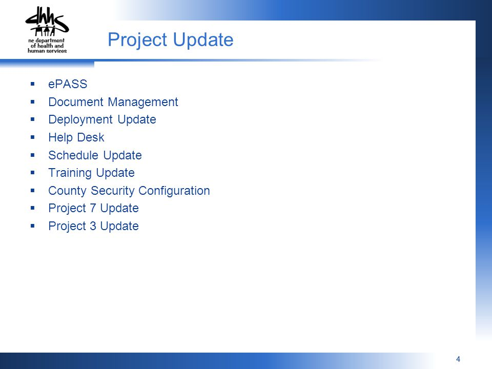 44 Project Update  ePASS  Document Management  Deployment Update  Help Desk  Schedule Update  Training Update  County Security Configuration  Project 7 Update  Project 3 Update