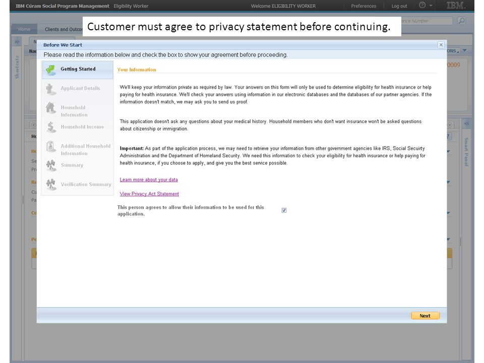 Customer must agree to privacy statement before continuing.